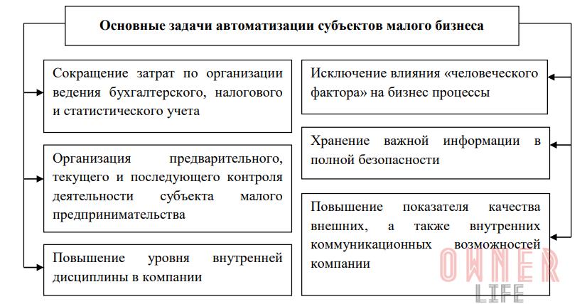 Основные задачи при разработке проекта автоматизации бизнес процесса субъектов малого предпринимательства